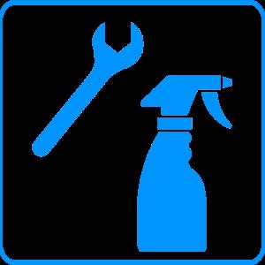 Maintenance - Spanner and Spray Bottle Blue